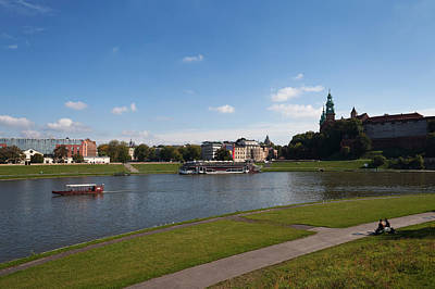 Krakow Photograph - The River Wisla Passing The Distant by Panoramic Images