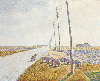 Pointillist Painting - The Road To Nieuport by Willy Finch