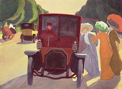 Car Drawing - The Road With Acacias by Roger de La Fresnaye