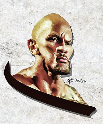The Rock Caricature By Gbs Print by Anibal Diaz