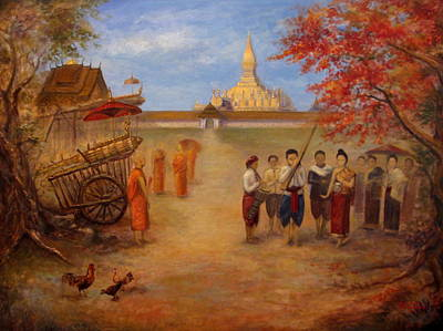 Laos Painting - The Rocket Festival by Sompaseuth Chounlamany