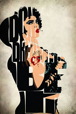 Typography Digital Art - The Rocky Horror Picture Show - Dr. Frank-n-furter by Ayse Deniz
