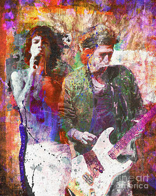 Keith Richards Painting - The Rolling Stones Original Painting Print  by Ryan Rock Artist