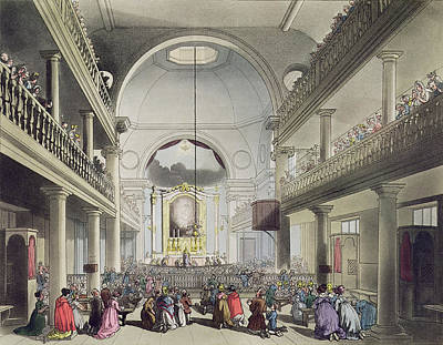 The Roman Catholic Chapel, Lincolns Inn Print by T. & Pugin, A.C. Rowlandson