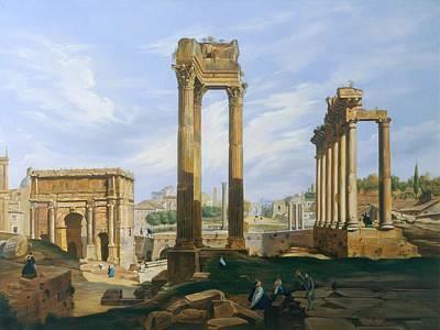 Pillars Painting - The Roman Forum by Jodocus-Sebastiaen van den Abeele
