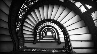 The Rookery Staircase In Black And White Print by Kelly Hazel