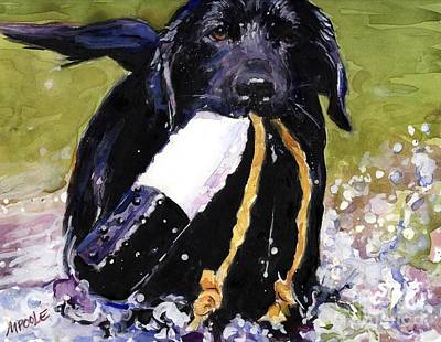 Retrievers Painting - The Ropes by Molly Poole