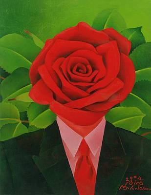 The Rose Man, 2004 Oil On Canvas Print by Myung-Bo Sim