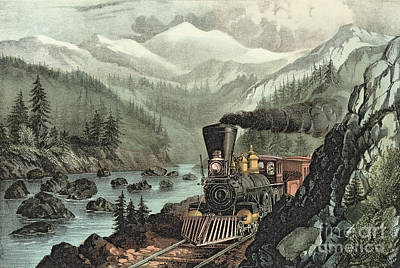 Railway Painting - The Route To California by Currier and Ives