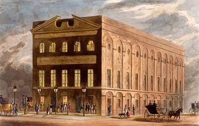 Street Drawing - The Royal Couborg Theatre, 1826 by Daniel Havell
