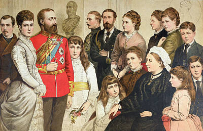 The Royal Family, 1880 Colour Engraving Print by English School