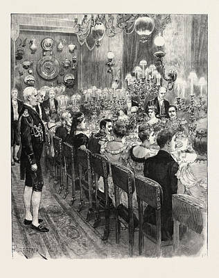 Berlin Drawing - The Royal Marriage At Berlin, Germany Banquet At The Royal by German School