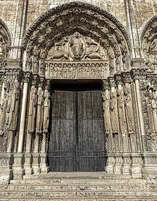 The Royal Portal At Chartres Print by Olivier Le Queinec