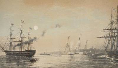 Harbors Drawing - The Royal Yacht Off Margate Evening by English School