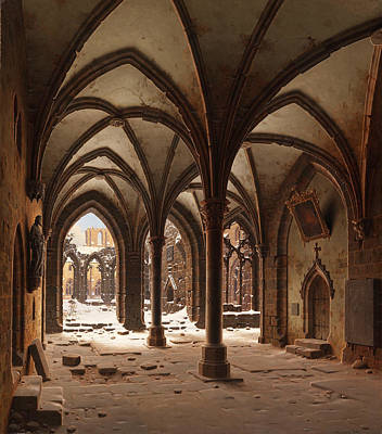Carl Hasenpflug Painting - The Ruins Of The Monastery Walkenried In Winter by Carl Hasenpflug