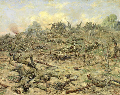 First World War Painting - The Russian Infantry Attacking The German Entrenchments by Pyotr Pavlovich Karyagin