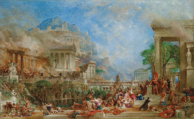 Temple Painting - The Sack Of Corinth by Thomas Allom