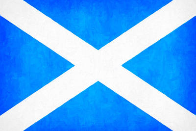 Burnt Digital Art - The Saltire - Scotland's National Flag by Mark E Tisdale