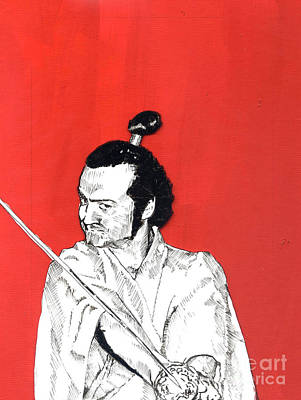 Manic Mixed Media - The Samurai On Red by Jason Tricktop Matthews