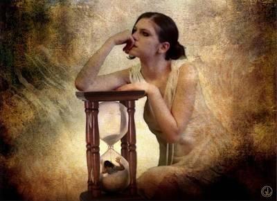 Woman Digital Art - The Sandglass by Gun Legler