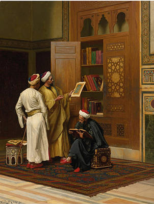 Library Painting - The Scholars by Ludwig Deutsch