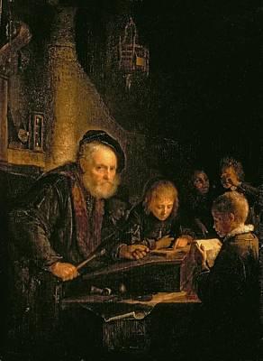 Desk Painting - The Schoolmaster, 1645 by Gerrit or Gerard Dou