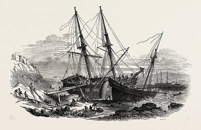 The Schooner Providence, And The Brig Hero Print by English School