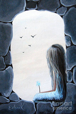 Blue Dresses Painting - The Secret Window By Shawna Erback by Shawna Erback