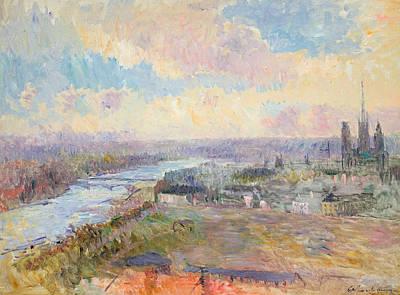 The Seine At Rouen Print by Albert Charles Lebourg
