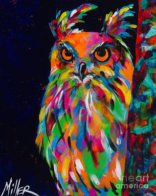 Colorful Owl Painting - The Sentinel by Tracy Miller