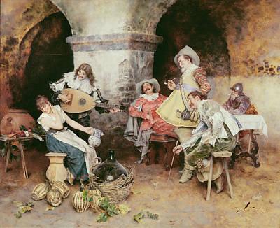 Flirtation Painting - The Serenade by Francesco Vinea