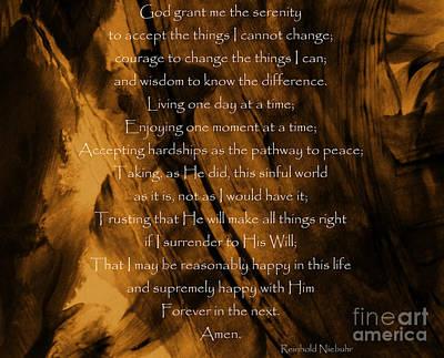 Born Again Photograph - The Serenity Prayer by Andrea Anderegg