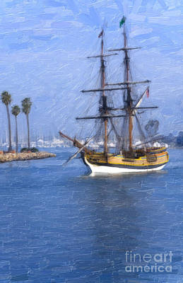 Pirate Ship Painting - The Seven Seas by David Millenheft