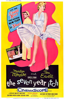 The Seven Year Itch, Tom Ewell, Marilyn Print by Everett