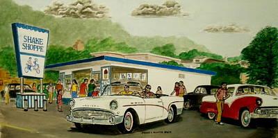 Buick Painting - The Shake Shoppe Portsmouth Ohio 1960 by Frank Hunter