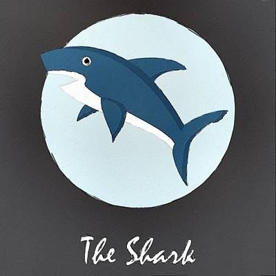 Sharks Digital Art - The Shark Cute Portrait by Florian Rodarte