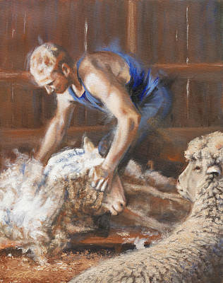 Art Of Mia Delode Painting - The Shearing by Mia DeLode