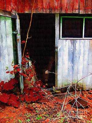 Decrepit Digital Art - The Shed Out Back In Autumn by RC deWinter