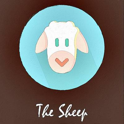 Sheep Painting - The Sheep Cute Portrait by Florian Rodarte