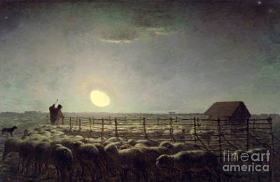 Huts Painting - The Sheepfold   Moonlight by Jean Francois Millet