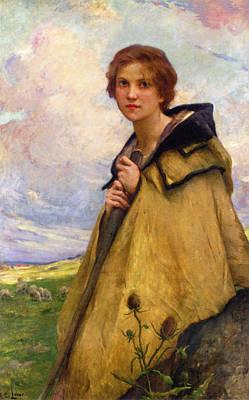 The Shepherdess Digital Art - The Shepherdess by Charles Lenoir