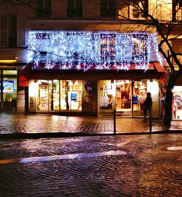 The Shimmer Of Lights In Paris Print by Jan Moore