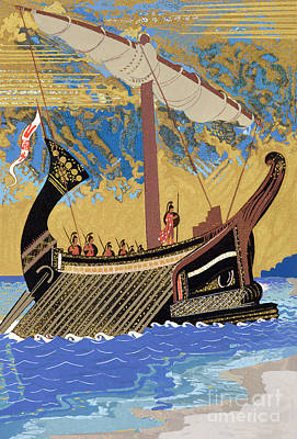 The Ship Of Odysseus Print by Francois-Louis Schmied