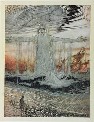 The Shipwrecked Man And The Sea, Illustration From Aesops Fables, Published By Heinemann, 1912 Print by Arthur Rackham