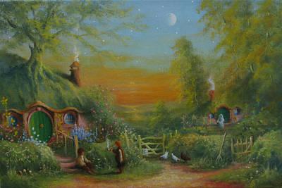 The Shire Frodo And Sam Making Plans Original by Joe Gilronan