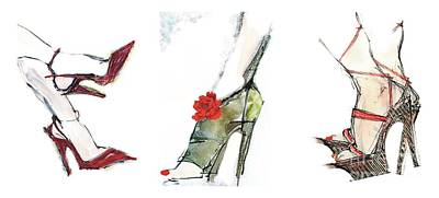 The Shoe Fashionista 2 Print by Carolyn Weltman