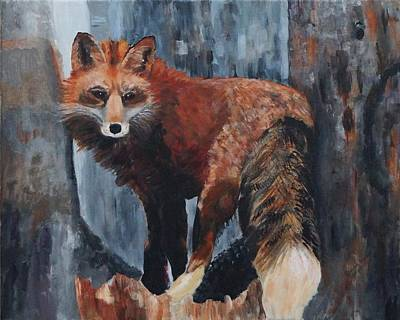 Red Fox Painting - the Shy Fox by Frankie Picasso