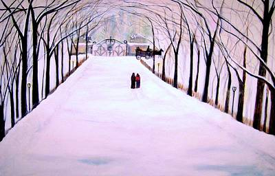 The Silent Snowfall Walk  Print by Rick Todaro