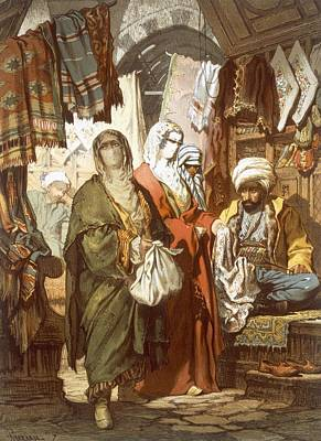 Orientalists Drawing - The Silk Bazaar, 1865 by Amadeo Preziosi