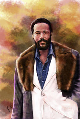 Super Stars Painting - The Silky Silky Soul Singer - Marvin Gaye  by Reggie Duffie